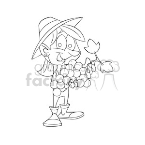 cartoon girl holding grapes grape fruit black+white