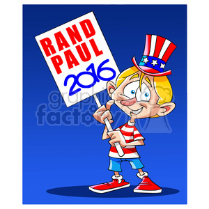 kid holding rand paul 2016 sign clipart. Commercial use image # 394239