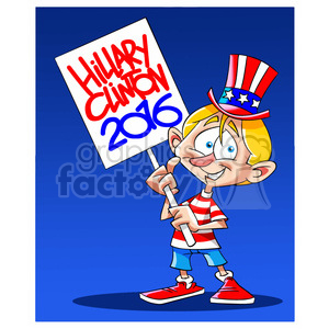 kid holding hillary 2016 sign clipart. Commercial use image # 394264