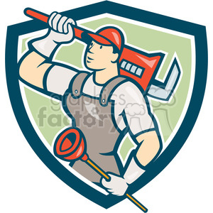 plumber wrench plunger looking up SHIELD clipart. Royalty-free image # 394340