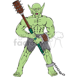 warrior orc club frnt CARTOON clipart. Commercial use image # 394360