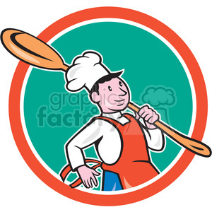 chef cook marching spoon CIRC clipart. Commercial use image # 394370