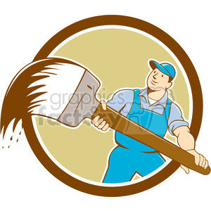 house painter giant paint brush front CIRC clipart. Commercial use image # 394390