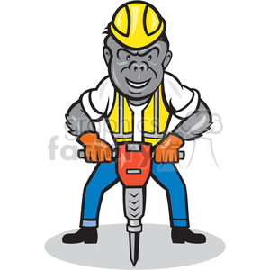 GORILLA construction worker jackhammer ISO clipart. Commercial use image # 394400