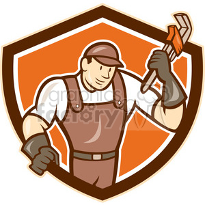 super plumber wrench standing SHIELD clipart. Royalty-free image # 394440