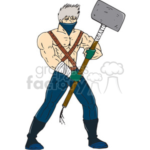 ninja warrior sledgehammer CARTOON clipart. Royalty-free image # 394460