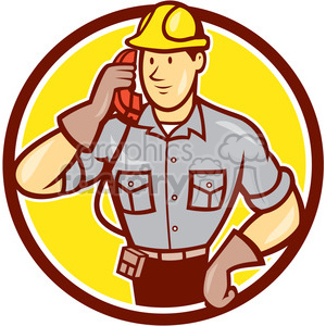 telephone repairman calling phone circ