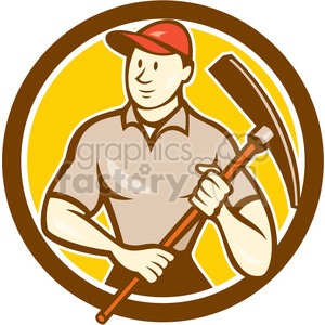 construction worker pickaxe CIRC clipart. Commercial use image # 394480