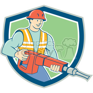 construction worker jackhammer carry SHIELD clipart. Royalty-free image # 394500