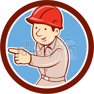 builder construction worker pointing CIRC clipart. Royalty-free image # 394520