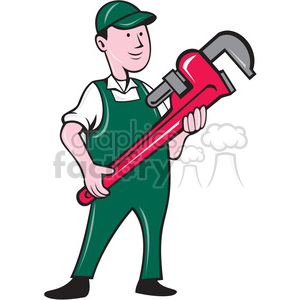 plumber overalls hold monkey wrench ISO clipart. Royalty-free image # 394540
