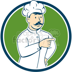 chef mustache pointing front CIRC clipart. Royalty-free image # 394560