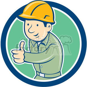 builder construction worker thumbs up CIRC clipart. Royalty-free image # 394580