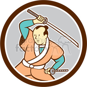 samurai warrior wielding sword CIRC clipart. Royalty-free image # 394590