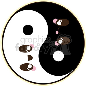 cute cartoon yin yang chinese asian symbol good bad