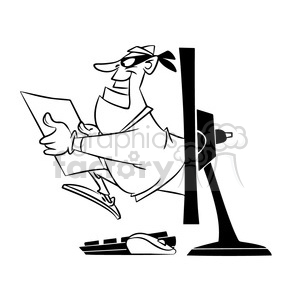 computer hacker black and white clipart. Royalty-free image # 394690