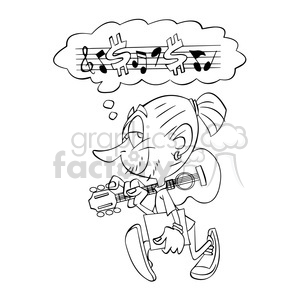 musician thinking about his music black and white clipart. Commercial use image # 394710