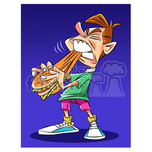 kid eating a rubbery cheeseburger clipart. Royalty-free image # 394770