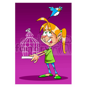 girl liberating a bird from a cage