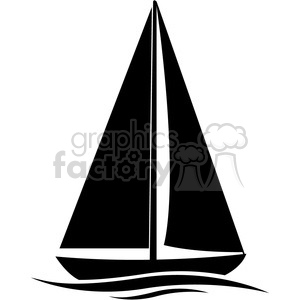 sailboat silhouette in water clipart. Commercial use image # 394867