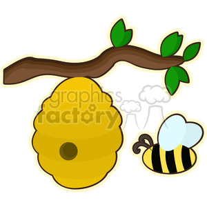 Beehive cartoon character vector image clipart. Royalty-free image # 394933