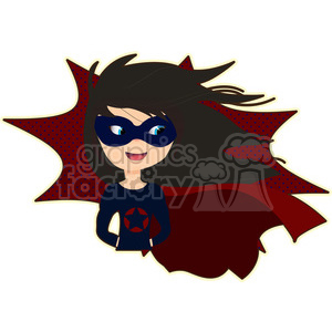 Superhero girl with cape cartoon character vector image clipart. Commercial use image # 394943