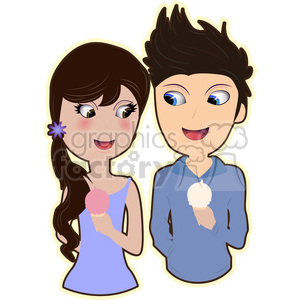 ice cream couple cartoon character vector image