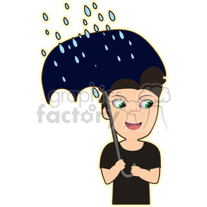 Umbrella Boy cartoon character vector image clipart. Royalty-free image # 394983