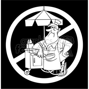 no hot dog sales black and white clipart. Royalty-free image # 395086