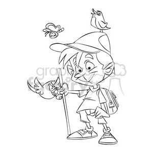 boy hiking in nature black and white clipart. Royalty-free image # 395106