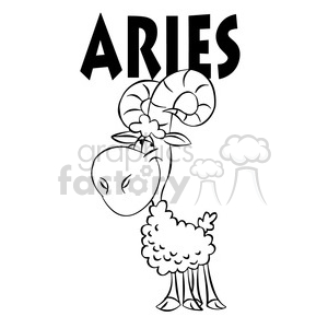 horoscope aries ram black and white clipart. Royalty-free image # 395116