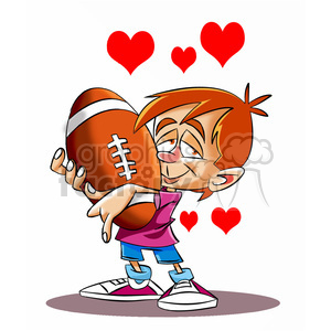 boy holding his large football with hearts bursting clipart. Royalty-free image # 395166