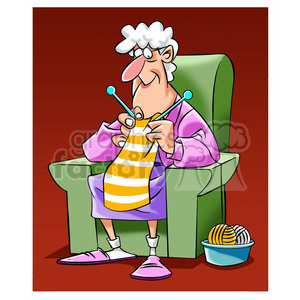 older women knitting clipart. Royalty-free image # 395216