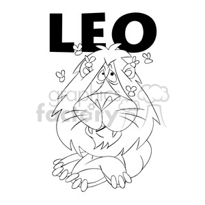 leo the lion horoscope black and white clipart. Commercial use image # 395226