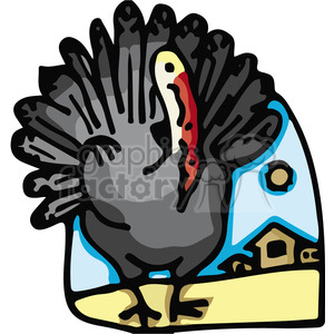 Turkey displaying feathers outside a barn clipart. Commercial use image # 130704