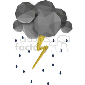 low poly lightning on white cartoon character vector clip art image geometric