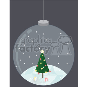 Low Poly Xmas tree snow globe cartoon character vector clip art image geometric clipart. Royalty-free image # 395265