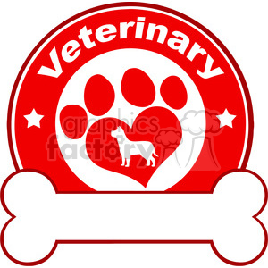 Royalty Free RF Clipart Illustration Veterinary Red Circle Label Design With Love Paw Dog And Bone Under Text clipart. Commercial use image # 395287