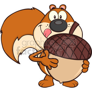 Royalty Free RF Clipart Illustration Squirrel Cartoon Mascot Character Holding A Big Acorn clipart. Commercial use image # 395297