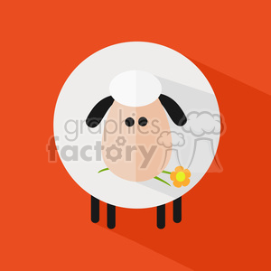 8225 Royalty Free RF Clipart Illustration Cute White Sheep With A Flower Modern Flat Design Vector Illustration clipart. Royalty-free image # 395347