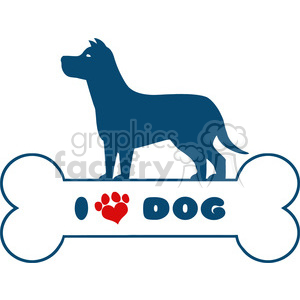 Royalty Free RF Clipart Illustration Dog Blue Silhouette Over Bone With Text And Red Love Paw Print Vector Illustration Isolated On White Background