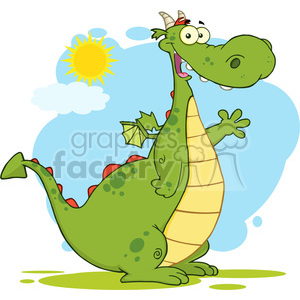 6943 Royalty Free RF Clipart Illustration Green Dragon Cartoon Mascot Character Waving For Greeting clipart. Commercial use image # 395367