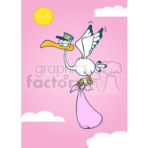 Royalty Free RF Clipart Illustration Cute Cartoon Stork Delivery A Baby Girl In The Sky clipart. Royalty-free image # 395387