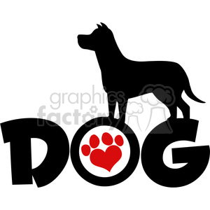 Royalty Free RF Clipart Illustration Dog Black Silhouette Over Text With Red Love Paw Print Vector Illustration Isolated On White Background clipart. Royalty-free image # 395407