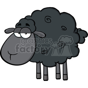 Royalty Free RF Clipart Illustration Cute Black Sheep Cartoon Mascot Character