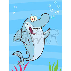 7326 Royalty Free RF Clipart Illustration Happy Shark Cartoon Character Waving clipart. Commercial use image # 395427