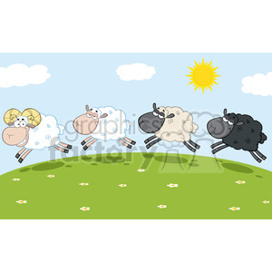 Royalty Free RF Clipart Illustration Smiling Ram Sheep Leading Three Sheeps clipart. Commercial use image # 395447