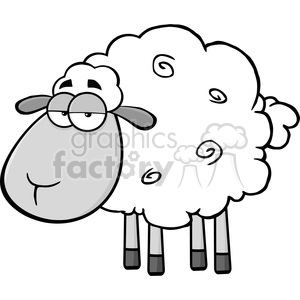 Royalty Free RF Clipart Illustration Cute Sheep Cartoon Mascot CharacterIn Gray Color clipart. Royalty-free image # 395477