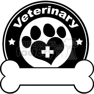 Royalty Free RF Clipart Illustration Veterinary Black Circle Label Design With Love Paw Print Bone Under Text clipart. Commercial use image # 395517