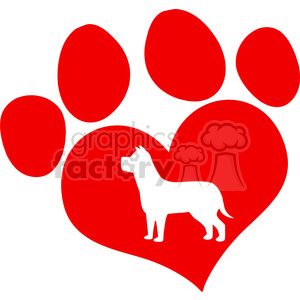 Royalty Free RF Clipart Illustration Red Love Paw Print With Dog Silhouette clipart. Commercial use image # 395537